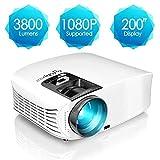 Beamer, ELEPHAS [Upgrade Version] 1080P HD 3800 Lumen 200' LCD Beamer, für Film Unterhaltung...