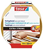 tesa doppelseitiges Verlegeband / Extra stark klebend - für alle Teppiche und PVC Beläge / Für Fußbodenheizung und feuchte Räume geeignet / 50mm x 10m