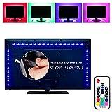 Elinkume LED TV Hintergrund Beleuchtung, USB LED Streifen Lichter 6.56ft 2M 5050 RGB Licht Streifen Kit mit Fernbedienung für HDTV, Flachbildschirm TV Zubehör, Desktop Monitore PC (Multi Color)