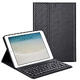 GOOJODOQ Tastatur Hülle für iPad 2017/2018 9.7/ iPad Air, Weiche TPU Rückseite+Keyboard