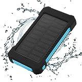 FLOUREON Solar Ladegerät Power Bank 10000mAh Akku Batterie Outdoor Wasserdicht mit Dual USB LED Taschenlampe für iPhone iPad Android-Handy Tablet Smartphones usw (Blau)