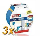 3x tesa Masking for corners /Krepp-Klebeecken/ UV- + Wetterbeständig / 24x50cm /3x60 Ecken