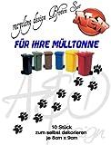 Recycling Design ***Pfoten Set 10 Stück*** - Mülltonnenaufkleber/ Sticker/ Tattoo - frei wählbare Wunschfolienfarbe!
