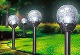 6-tlg. Set LED-Solarlampen aus Edelstahl mit Glas, 39 cm lang, Durchmesser 8 cm