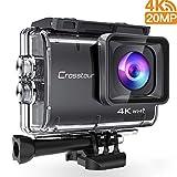 Crosstour Action Kamera 4K 20MP Wifi Unterwasserkamera 40M Cam Anti-Shake Zeitraffer & Loop-Aufnahme...