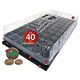 PRO40+ Komplett-Set Zimmer-Gewächshaus Anzuchthaus Hydroponik XL mit Torfquelltöpfen, automatischer Bewässerung, Profi Treibhaus mit Wanne + Kapillarsystem + QP Topfplatte + Haube + Jiffy