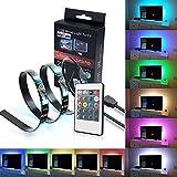 LED-TV-Hintergrundbeleuchtung IREGRO LED Streifen 2* 50 CM 16 Farben RGB Flachbildschirm-TV-Zubehör...