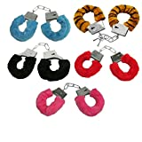 Handschellen Handfesseln Plüsch Scherzartikel Plüschhandschellen Hand Schellen - Mit Sicherheitshebel und 2 Schlüsseln - (rosa)