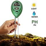Bodentester, Digitales Bodenmessgerät für Pflanzen, Digital pH Meter Messgerät, Boden Feuchtigkeitsmesser,and Lichtstärke Meter Tester für Gartenbau, Pflanzen Wachstum, Rasenpflege 3-in-1 (keine Batte