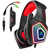 Swenter Gaming Headset für PS4, 3.5mm Surround Sound Kabelgebundenes Headset mit Mikrofon, Buntes...