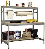 Werkbank / Packtisch BT-4 1200 Grau / Holz, Maße: 144 x 120 x 75 cm (H x B x T), Traglast: 600 kg mit Aufbau und Stange