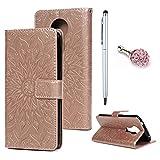 Motorola Moto E5 Plus Hülle Leder Wallet Case Cover Tasche Handyhülle Sonnenblume Flip Case Handyschale Brieftasche Ständer Etui Bookstyle Magnetverschluß Kartenfach Schutzhülle Klappcase Rose Gold