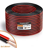 MANAX® Lautsprecherkabel weiß 2x1,5mm² 30m Ring, rot/schwarz