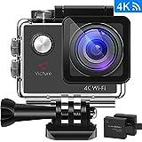 Victure Action Kamera 4K WIFI Unterwasserkamera Sport Cam 16MP Ultra HD Helmkamera Wasserdicht für Motorrad Fahrrad Reiten mit 2 Verbesserten Batterien und Zubehör Kits