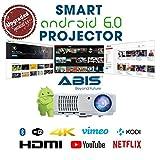 HD Projektor Smart WLAN - Bluetooth LED-Projektor-HD720, Full HD 1080p HDMI Beamer für Heimkino, Gaming, Spiele, Home Entertainment, Multimedia, Heimkino Projektor, Pubs, Clubs, Hotels, Büro, Konferenz, PowerPoint Präsentation - ABIS HD 6000 Plus Modell