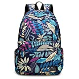 MMMMM Kinderrucksack Marineblau Schultasche für Teenager 20-35L Blätter drucken,1