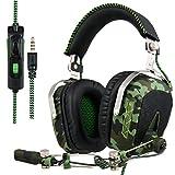 SADES Aktualisiert SA926T Kopfhörer PS4 Headset Stereo Xbox One Kopfhörer Gaming Headset Over-Ear-Kopfhörer mit Mikrofon für PS4 / Xbox One / PC / Mac / Smartphone / iPhone / iPad (Armee-Grün)