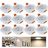 Hengda® 12 x 3W Warmweiß Alu-matt LED Einbauleuchte Deckenbeleuchtung SMD Energiespar Decken Deckenleuchten Einbaustrahler Set 230V Spot Lampen Bohrung 70mm High Power IP44