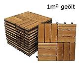 SAM® Terrassenfliese 02 aus Akazien-Holz, FSC® 100 % zertifiziert, 11er Spar-Set für 1 m², Garten-Fliese in 30 x 30 cm, Bodenbelag mit Drainage, Klick-Fliesen für Garten Balkon Terrasse