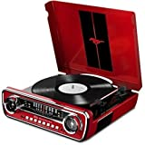 ION Audio Mustang LP Rot 4-in-1 Music Center im Muscle Auto Design mit Plattenspieler, Radio, USB...
