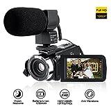 Camcorder Full HD Mit Externem Mikrofon,LESHP Videokamera mit Infrarot...