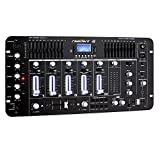 resident dj Kemistry 3BK • DJ-Mixer • 4-Kanal Mischpult • DJ-Mischpult • Bluetooth • USB-Port • SD-Slot • MP3-fähig • 2 x Cinch-Phono/Line-Eingang • 10-Band Equalizer • Mikrofonsektion • XLR-/Klinken-Eingänge • Talkover-Funktion • Rackmontage • schwarz