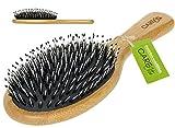 Haarbürste mit Wildschweinborsten  Haarbürste aus natürlichem Bambus-Holz für Frauen, Männer und Kinder  Haarbürste ohne Ziepen mit Mischborsten  Haarbürste mit Wildschweinborsten zum Entwirren