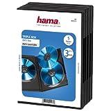 Hama DVD-Hülle Triple (auch passend für CDs und Blu-rays, mit Folie zum Einstecken des Covers) 5er-Pack, schwarz