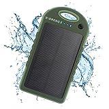 Externe Akku 12000 mAh Handy Powerbank Solar Ladegerät 2 Ausgänge USB Wasserdicht Solar Panel...