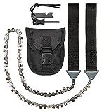 CampBuddy Handkettensäge - Astsäge Mit Gürteltasche und Feuerstein / 65cm Kette / 33 bidirektionale Zähne