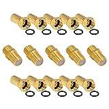 5x Verbinder 10x F-Stecker Set 7mm Vergoldet mit Gummidichtung breite Mutter für Koaxial...