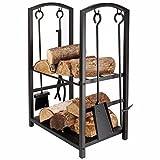 HomeZone® Indoor-/Outdoor Holz Log Rack für Kamin Heavy Duty Holz Stapeln, Halterung für Terrasse Deck Metall Log Aufbewahrung Ständer Holz Flor Racks Außerhalb Feuerstelle mit Werkzeuge Zubehör