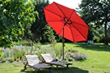 Großer KURBEL - SONNENSCHIRM mit Knicker - Modell : ZANGENBERG - MADE in GERMANY - RUND - 300 cm - 8 teilig - Farbe : ROT - VERTRIEB - Holly ® Produkte STABIELO ® - holly-sunshade ®
