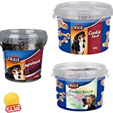 TRIXIE Cookie Snack/Soft Snack im verschließbaren Kunststoffeimer für Hunde + BALL Gratis (Soft Snack Lupinos, 500 g)