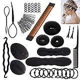 Frisurenhilfe Set mit DEUTSCHER Anleitung - Einfache Frisuren für jeden zum Nachmachen! - Frisur Hilfe Set für lange Haare mit viel Zubehör (Braun)