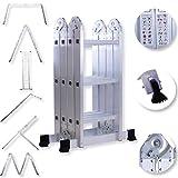 Masko® 6in1 Mehrzweckleiter 3.40M ALU Anlegeleiter Klappleiter Stehleiter Aluminium Modell: 4 x 3 Stufen