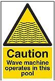 VSafety 66006AU-S 'Vorsicht, Wellenmaschine arbeitet in diesem Pool' Wasser Warnschild, selbstklebend, Portrait, 200 mm x 300 mm, Schwarz/Gelb