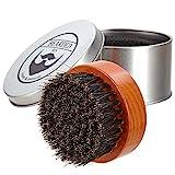 BEARDED BEN Bartbürste mit Wildschweinborsten und hochwertiger Aufbewahrungsbox für professionelle Bartpflege | teakbraun, Durchmesser: 6,3 cm | mit 2 Jahren Zufriedenheitsgarantie