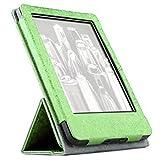 hibote Amazon Kindle Case - Vertikal spiegeln Tasche für Amazon Kindle Paper 1/2/3 mit Hintergrundbeleuchtung (2012, 2013 und 2015) (beinhaltet 2x Displayschutz) Grün