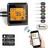 Wireless BBQ Thermometer, OUTAD Barbecue Funk Thermometer Set Grillthermometer LCD-Display Einstichthermometer Fleischthermometer mit Temperaturalarm 6 Edelstahl Temperaturfühler, App für Kochen Steak