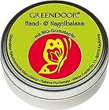 Greendoor Handbalsam / Handcreme ideal für sehr trockene Haut mit BIO Granatapfel, Naturkosmetik ohne Konservierungsmittel, Hand Balsam ohne Mineralöl und ohne Parabene, 4-fache Ergiebigkeit gegenüber einer Creme, Nagelbalsam
