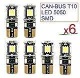 X6Glühbirnen T10W5W 5050LED Canbus Licht reinweiß 5500K