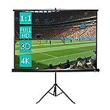 CCLIFE Beamer Leinwand Stativ - Format 1:1, Mobile Beamerleinwand, Geeignet für Heimkino und Business, Volle HD, 3D, 4K-Leinwand einsetzbar, 2 jahre Garantie, Größenwahl, Größe:178 x 178 cm