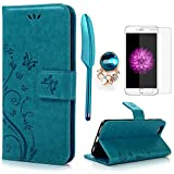 iPhone 6 / 6S Hülle (4,7 Zoll) Wallet Case Flip Hülle YOKIRIN Schmetterling Blumen Muster Schutzhülle PU Leder Brieftasche Ledertasche im Bookstyle für iPhone 6 6S Tasche Blau