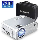 BOMAKER Beamer Native 720P Auflösung 3000 Lumen mit tragbarer Tasche,LED Videoprojektor,Verbindung mit HDMI VGA SD USB AV Gerät, Heimkino -Grau