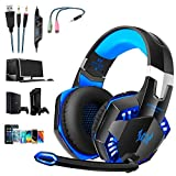 G2000 Gaming Headset, Tsing Professionelle Gaming Kopfhörer mit Mikrofon, 3.5mm On Ear Surround Sound Ohrhörer mit Bass-Stereo Lautstärkeregelung für PC Laptop Tablet Mobile Phones Blau