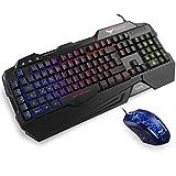 HAVIT Gaming Tastatur und Maus Set, LED Hintergrundbeleuchtung QWERTZ (DE-Layout), 7 Tasten Gaming...