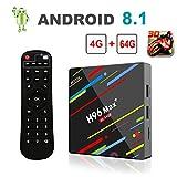 [Android 8.1 4GB+64GB] 2019 Smart TV Box 4K Ultra HD H96 Max+ TV Box RK3328 Quad-Core 64bit CPU 2.4G/5GHz WiFi 100M LAN Ethernet H.265 Bluetooth 3D Set Top Box mit Fernbedienung