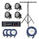 Showlite FLP-144 Scheinwerfer SET inkl. DMX Controller Master Pro USB, Licht-Traverse und Kabel (LED-Spots, Lichttechnik, Komplettset, Stativ, DMX-Kabel, 1m, 3m)
