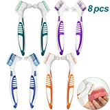 8 Stück Prothesenbürste, Bürste für Prothesen Prothesenzahnbürste, Hygienic Prothesenreinigungsset für die Restaurative Pflege - Mehrschichtborsten und ESrgonomische Gummigriffe (4 Farben)